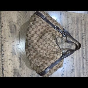 Gucci shoulder bag. Brown on tan authentic